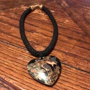 """15"""" cloisonné style necklace with cranes"""